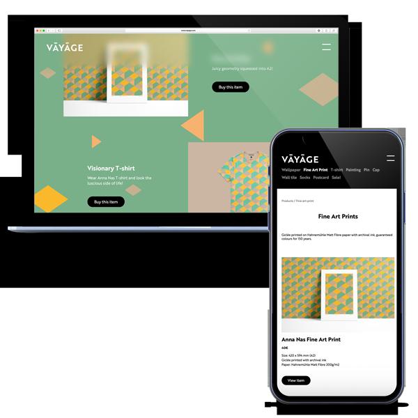 Vayage online webshop design